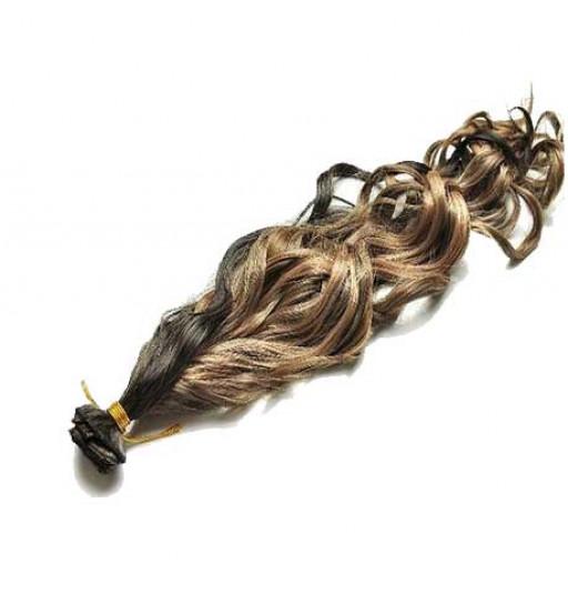 Kit extension à clips Bouclé 45cm Couleur #1B/27 - Brun méché châtain/blond