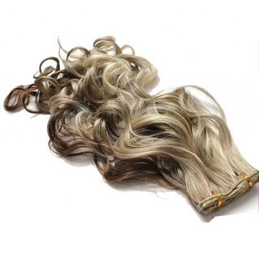 Kit extension à clips Bouclé 45cm Couleur #4/24 - Châtain méché blond