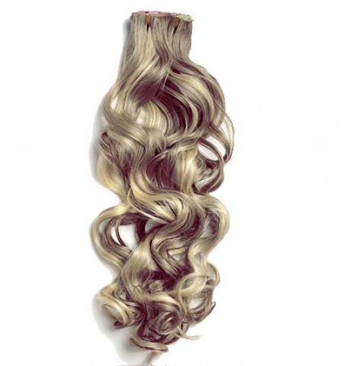 Kit extension à clips Bouclé 55cm Couleur #4/24 - Châtain méché blond
