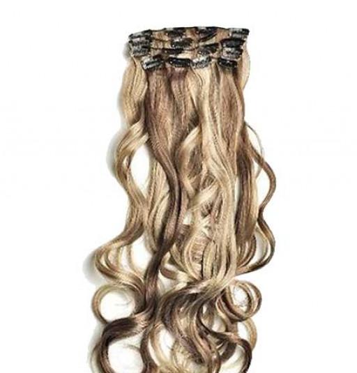 Kit extension à clips Bouclé 55cm Couleur #4/613 - Châtain foncé méché blond clair