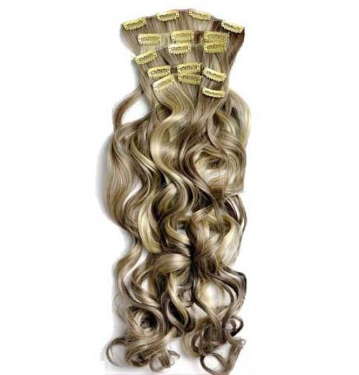 Kit extension à clips Bouclé 70cm Couleur #4/613 - Châtain foncé méché blond clair