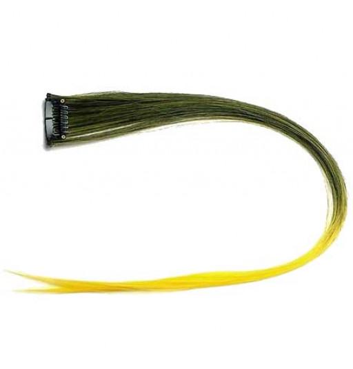 Extension Gardien Color 2 clips 55cm Couleur #K11 - Brun méché Jaune / Jaune