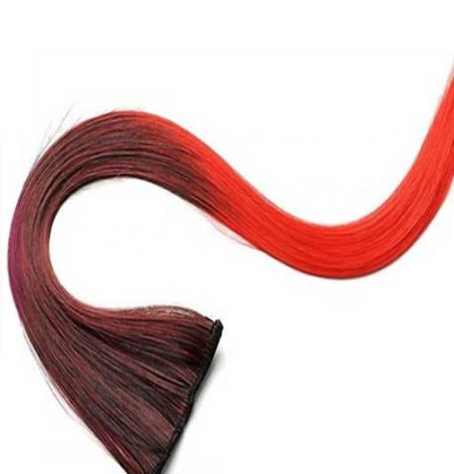 Extension Gardien Color 2 clips 55cm Couleur #K6 - Brun méché Rouge / Rouge