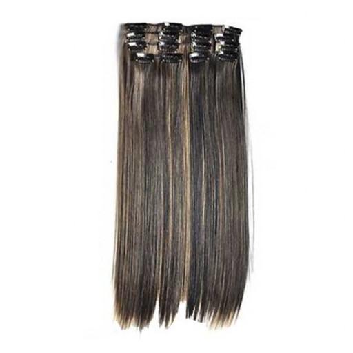Kit extension à clips Lisse 55cm Couleur #1B/27 - Brun méché châtain/blond