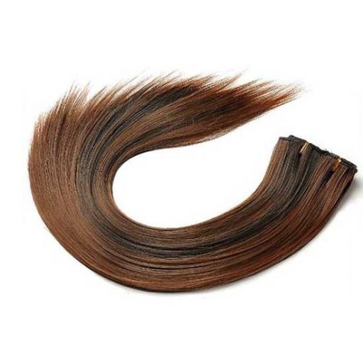 Kit extension à clips Lisse 45cm Couleur #1B/30 - Brun méché cuivre