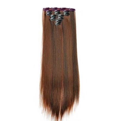 Kit extension à clips Lisse 55cm 55cm Couleur #1B/30 - Brun méché cuivre