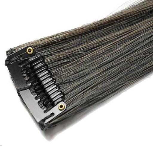 Mèche extension à clips 1 clip 55cm Couleur #1B/6 - Brun méché châtain