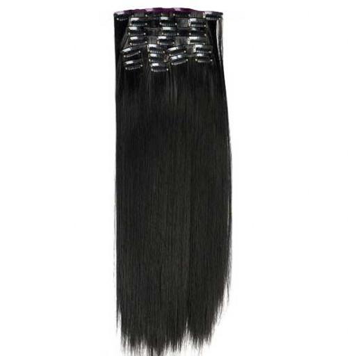 Kit extension à clips Lisse 55cm Couleur #2 - Noir Brun