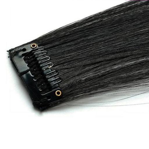Mèche extension à clips 3 clips 55cm Couleur #2 - Noir Brun