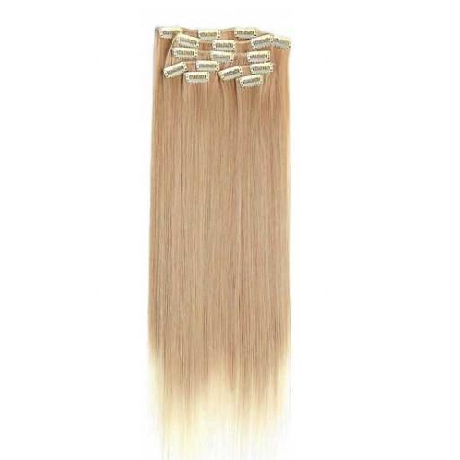 Kit extension à clips Lisse 55cm Couleur #27T/613 - Blond méché