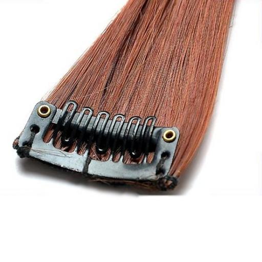 Mèche extension à clips 1 clip 55cm Couleur #30 - Châtain cuivre doux