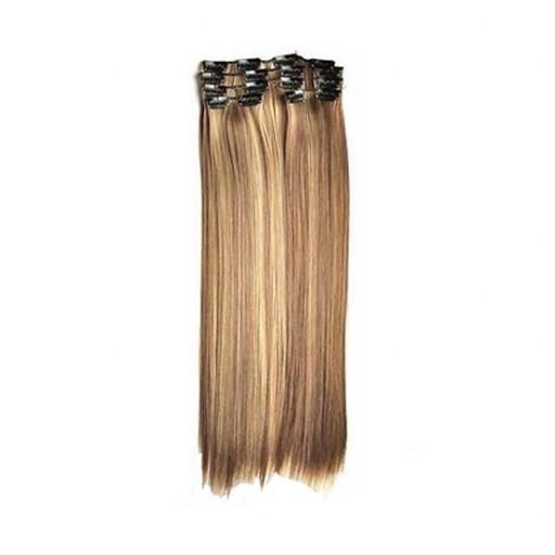 Kit extension à clips Lisse 55cm Couleur #4/24 - Châtain méché blond