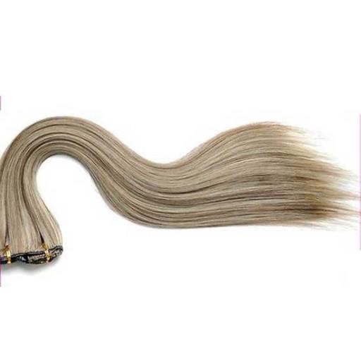 Kit extension à clips Lisse 45cm Couleur #4/613 - Châtain foncé méché blond clair