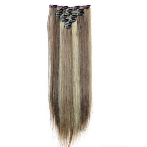 Kit extension à clips Lisse 55cm Couleur #4/613 - Châtain foncé méché blond clair