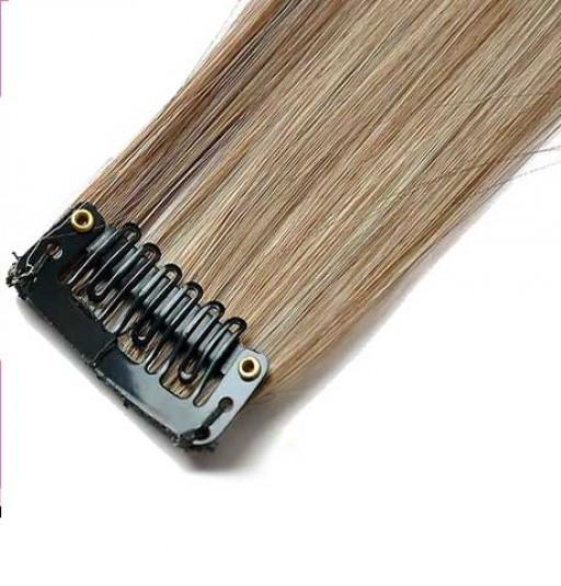 Mèche extension à clips 3 clips 55cm Couleur #4/613 - Châtain foncé méché blond clair