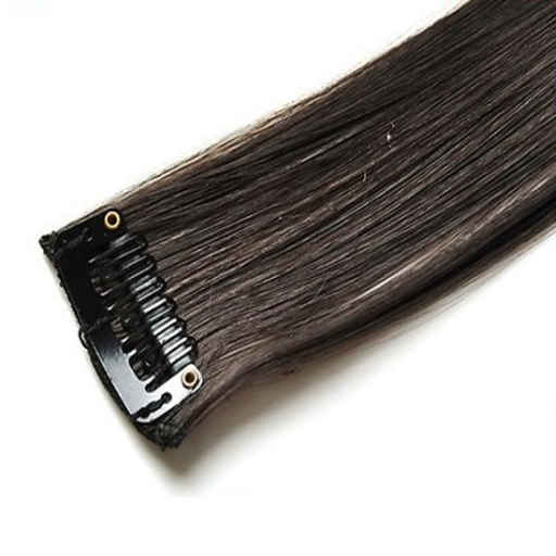 Mèche extension à clips 3 clips 55cm Couleur #4 - Châtain foncé