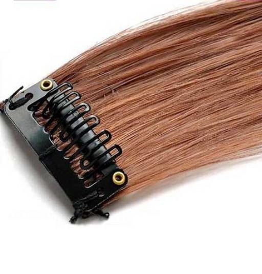 Mèche extension à clips 3 clips 55cm Couleur #5 - Châtain moyen cuivré