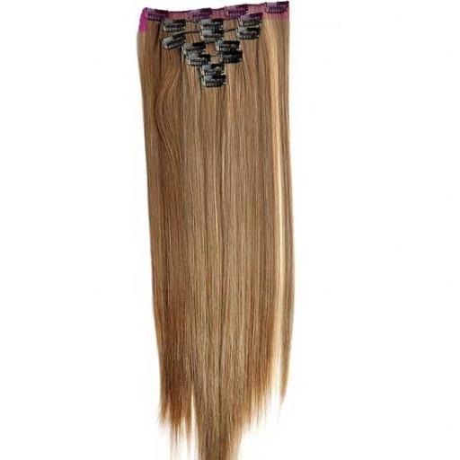 Kit extension à clips Lisse 55cm Couleur #6/613 - Châtain clair méché blond