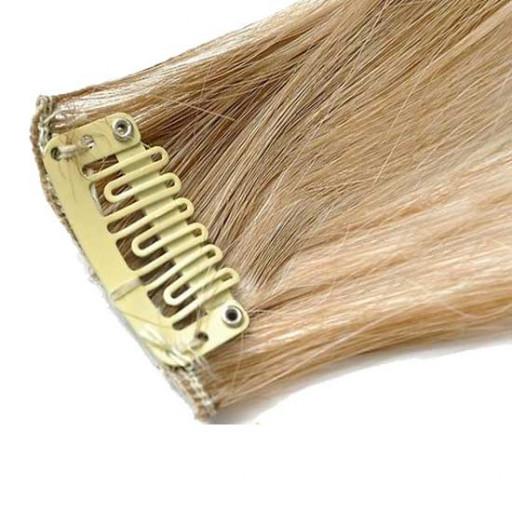 Mèche extension à clips 1 clip 55cm Couleur #6/613 - Châtain clair méché blond