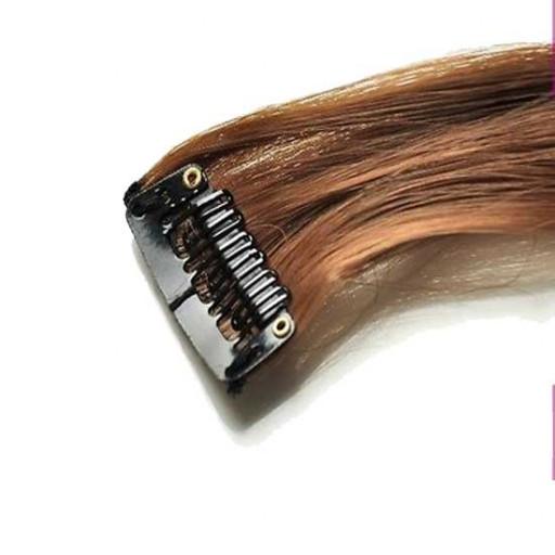 Mèche extension à clips 2 clips 55cm Couleur #6 - Châtain clair