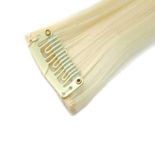 Mèche extension à clips 1 clip 55cm Couleur #613 - Blond platine