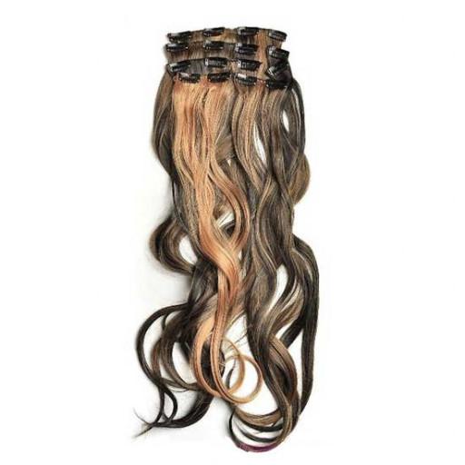 Kit extension à clips Ondulé 55cm Couleur #1B/27 - Brun méché châtain/blond