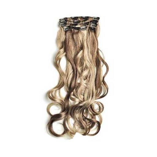 Kit extension à clips Ondulé 55cm Couleur #4/613 - Châtain foncé méché blond clair