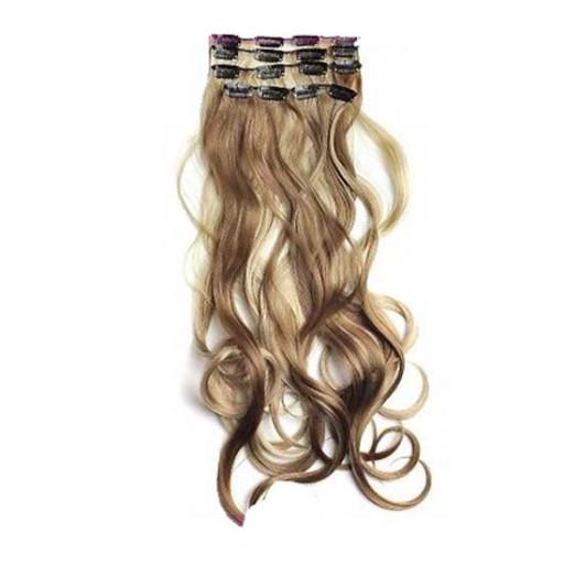 Kit extension à clips Ondulé 55cm Couleur #6/613 - Châtain clair méché blond