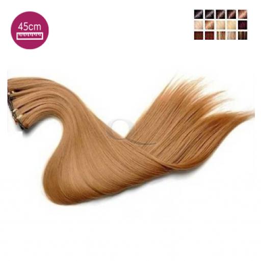Kit 7 bandes extensions de cheveux à clip synthétiques aspect naturel lisse 45cm