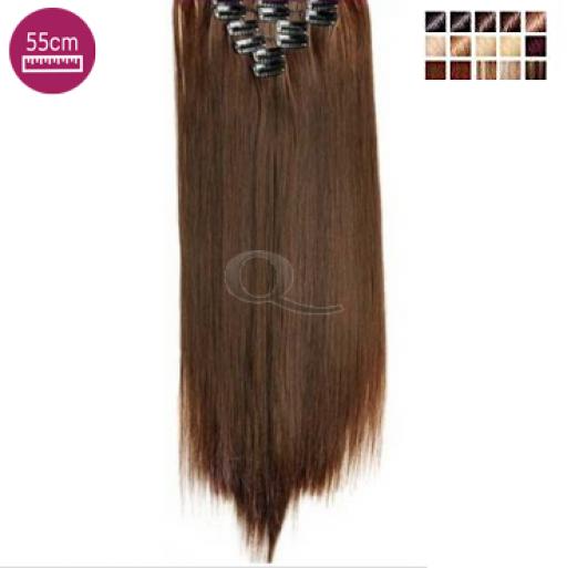 Kit 10 bandes extensions de cheveux à clip synthétiques Luxe lisse 55cm