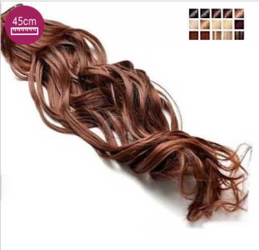 Kit 7 bandes extensions de cheveux à clip synthétiques aspect naturel ondulé 45cm