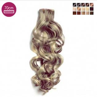 Kit 7 bandes extensions de cheveux à clip synthétiques aspect naturel bouclé 70cm MV902-70