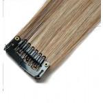Mèche extension à clips 2 clips 55cm Couleur #4/613 - Châtain foncé méché blond clair 801-4/613-55