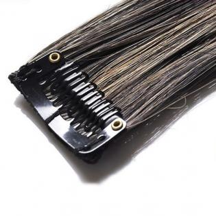 Mèche extension à clips 1 clip 55cm Couleur #1B/27 - Brun méché châtain/blond 800-1B/27-55