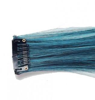 Extension Gardien Color 1 clip 55cm Couleur #B20 - Brun méché Turquoise / Turquoise 800-B20-50