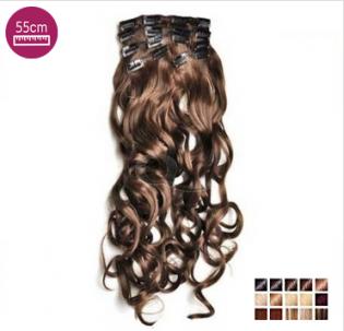 Kit 10 bandes extensions de cheveux à clip synthétiques Luxe bouclé 55cm 102-8-55